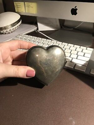Antique Metal Silver Heart Box