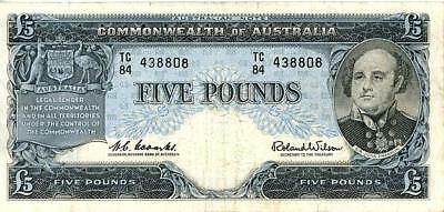 1960 Australian Five Pound Banknote Coombs/Wilson - TC84 438808