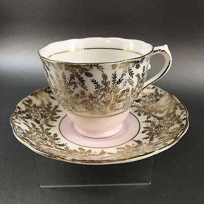 Colclough Pink & Gold Wreath Tea Cup & Saucer English Bone China Teacup England