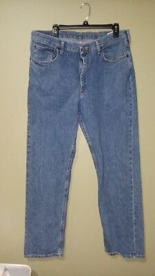6aa11dbd Men's Wrangler Relaxed Fit Blue Denim Jeans Size 36 x 32 Cotton blend