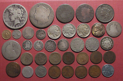 Lot Of Over (35) Type Coins - Nice Mix Includes $1 Gold, Capped Bust, $3+ Us 90%
