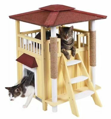 Cat House Outdoor Indoor Shelter Roof Cat Condo  Wood Steps Balcony Puppy Stairs