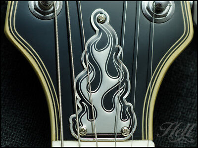 """""""FLAMES"""" Brass 3-Hole Truss Rod Cover. Fits most Epiphone Les Paul and others."""