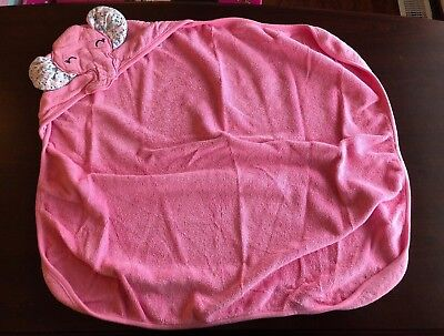carter's baby girls hooded bath towel pink elephant