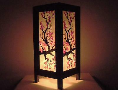 Thai Vintage Handmade Asian Oriental Japanese Sakura Flower Bedside Table Light