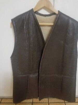 Mens shearling leather vest