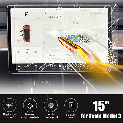 "15"" Car Navigator Tempered Glass Steel Screen Protector For Tesla Model 3"