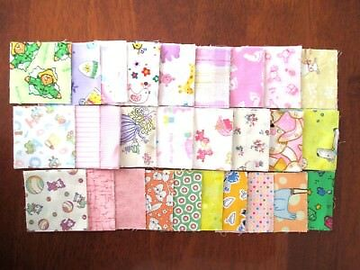 "CHARM SQUARES 2.5 "" 100% Cotton Fabric Patchwork Quilt BABY GIRL Over 100Pieces"