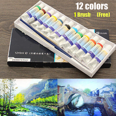 Professional 12 Colors 5ml Paint Tube Watercolor Draw Painting With 1 Free