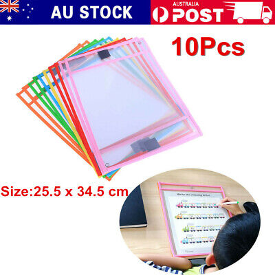 10 Resuable Dry Erase Pocket Sleeves Stationery Kids Write and Wipe Tool Pockets