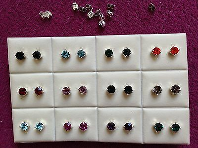 JOBLOT - 12 pairs of 0.6cm  mix colours diamante  stud earrings.Silver plated.
