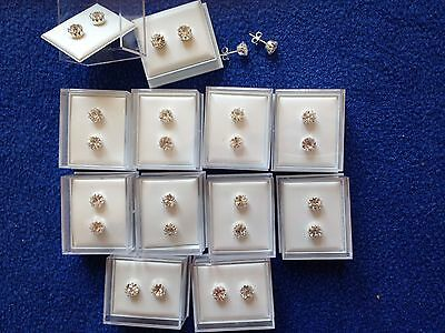 JOB LOT-10 pairs of 0.6cm crystal diamante stud earrings.Gift boxed.Silver plate