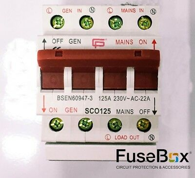 Cp Electric Fusebox 125A Changeover Switch / Mains Stanby Generator (1P + N)