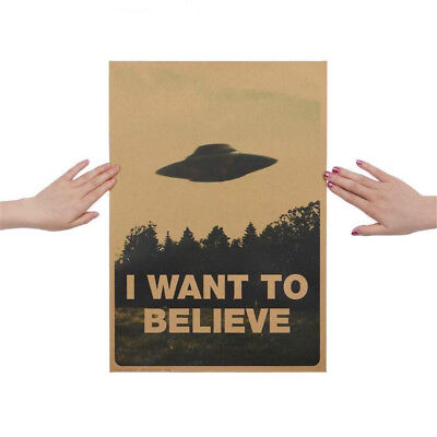 Nostalgic 'I WANT TO BELIEVE' Kraft Paper Poster Wall Stickers Home Office Decor