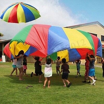 4M 14FT Large Kids Play Rainbow Parachute Outdoor Game Exerclse Group  HOT