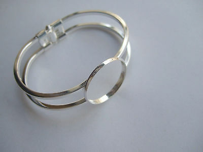 Silver Plated Copper Cuff Bangle Blank Setting For 25mm Round Cameo Cabochon