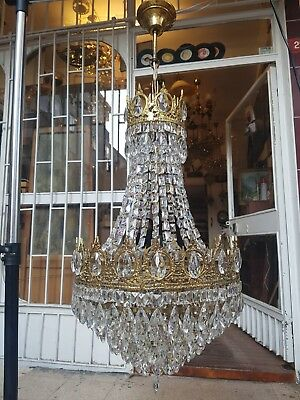 Antique Vintage French Basket Crystal Chandelier Brass Ceiling Lamp 15'' DIAMETR