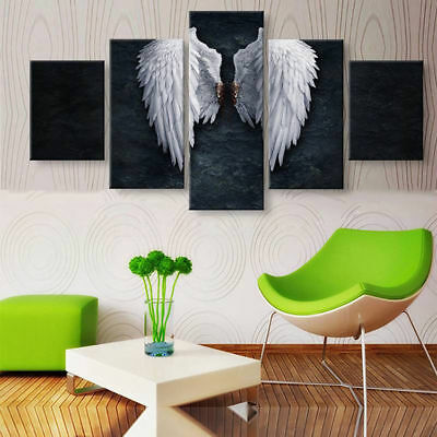 Classical White Angel Wings Vintage Art 5 pieces Canvas Wall Poster Home Decor
