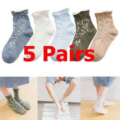 5 Pairs Women Cute Embroidered Socks Casual Ladies Mid Ankle Socks Comfortable