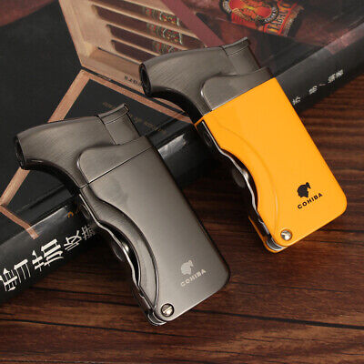 COHIBA Metal Windproof 1 Torch Jet Flame Cigarette Cigar Lighter With 2 Punch