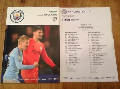 Manchester City V Burton Albion football programme and teamsheet 09/01/19