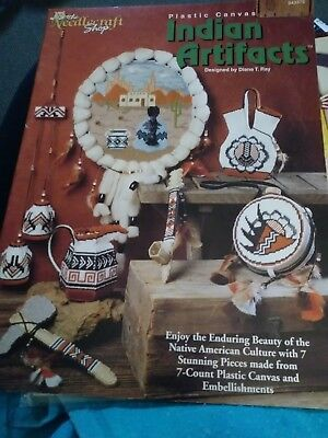 Indian Artifacts ~ 7 Native American Designs plastic canvas patterns Rare new