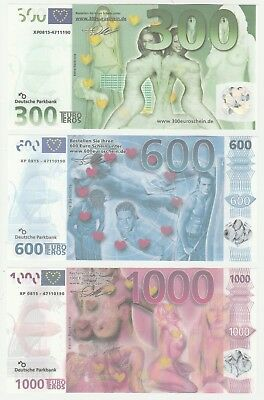 Deutsche Parkbank 300 600 1000 Euro Eros UNC Private Erotic Banknote Set 3 pcs