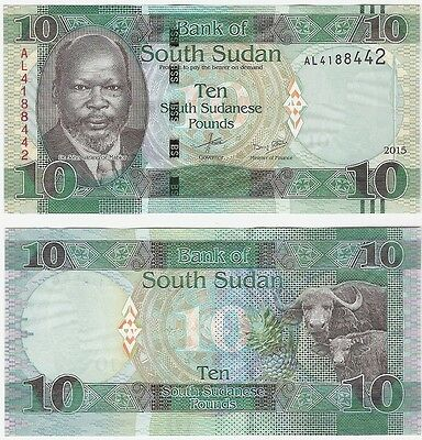South Sudan 10 Pounds 2015 P-7b UNC Uncirculated Banknote - Ox Cattle
