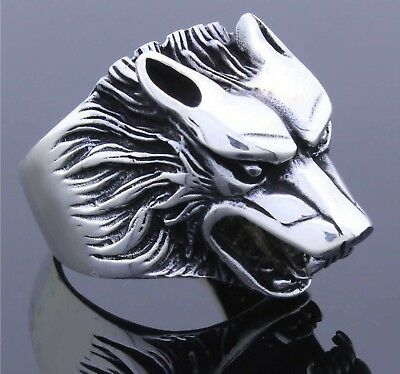 925 Sterling Silver Retro Biker Wolf Men's Ring 10 US Free Resize