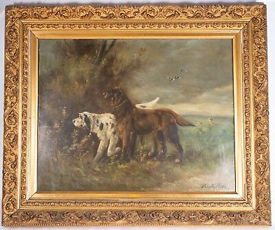 Antique Paul Schouten (1860-1922) Pair of hunting dogs & landscape oil on canvas