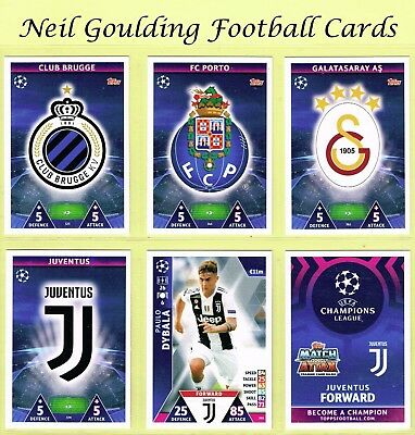 CHAMPIONS LEAGUE MATCH ATTAX 2018-2019 ☆ Football Base Cards ☆ #325 to #396