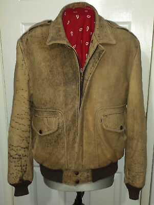 """Vintage Reed Tan Brown A2 Leather Flying Bomber Jacket 44"""""""