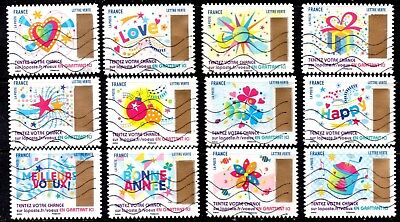 France - French - 2017 -  Christmas Greetings - Fu - Full Set Of 12 Stamps