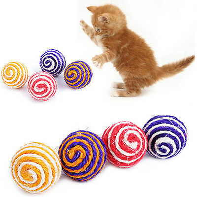 Pet Cat Sisal Rope Woven Ball Teaser Playing Chewing Rattle Scratch Catch Toy