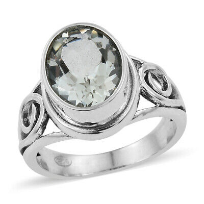 Teen Girls 925 Sterling Silver Oval Green Amethyst Ring Jewelry Gift Cttw 1.9
