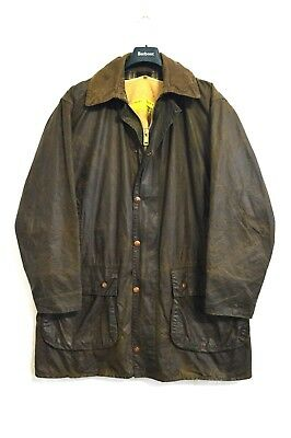 Vintage Barbour Border Waxed Jacket Green Lining Size Men's M c42
