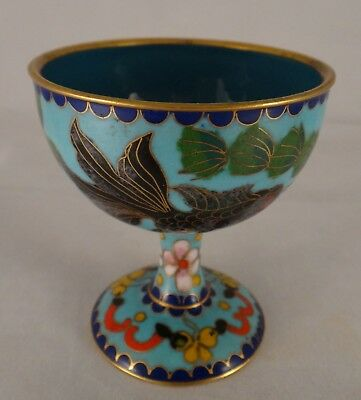 "Antique Chinese Small Cloisonné Stem Cup. Qing dyn. c. 1880 - 1910. 2 ¾"" t"