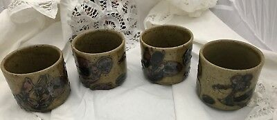 Yunomi SET OF 4 Bowl Ceramic Glazed Chinese Japanese Floral Unmarked Tea Cups