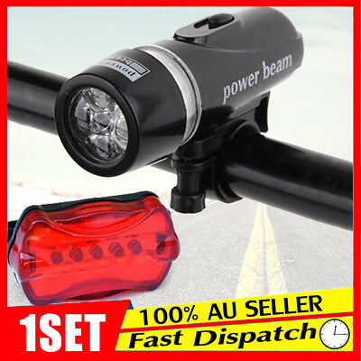 Light Head Tail Lights 5 LED Lamp White Beam Safety Alarm Set Bicycle Cycle Bike