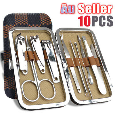 Cuticle Grooming Knife Stainless 10Pcs Nail Clippers Kit Set Manicure Pedicure