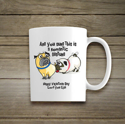 Personalised Valentines Day Mug Boyfriend Girlfriend Funny Dogs Romantic Cup Luv
