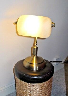 Brass Desk Lamp with Opaque White Glass Shade