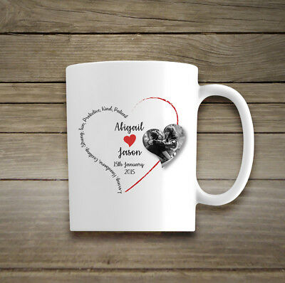 Personalised Valentines Day Mug Cup Photo Love Red Heart Words Message Poem Date