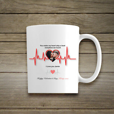 Personalised Happy Valentines Day Mug Cup Photo Heart Beat Love Message Poem