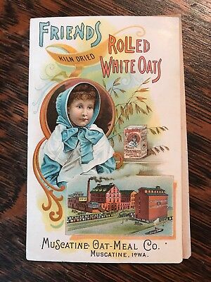 Antique Friends Rolls White Oats MuScatine Oatmeal Co. Iowa Trade Card