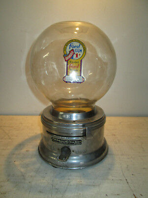 Vintage Ford Tabletop Gum Ball Machine 1 Cent Glass Globe