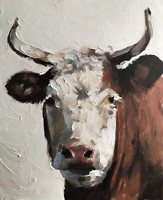 Cow J.Coates Original Oil Painting Art Wall Art 8 x 10 inches