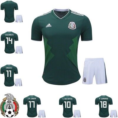 47a3efc2c ADIDAS MEXICO Home 2018 Soccer Jersey and Shorts for Kids SET - H. LOZANO 22
