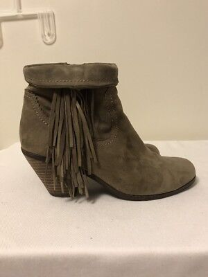 693cf4737 Sam Edelman Louie Fringe-Trimmed Ankle Boot Tan Leather Suede Bootie size  7.5