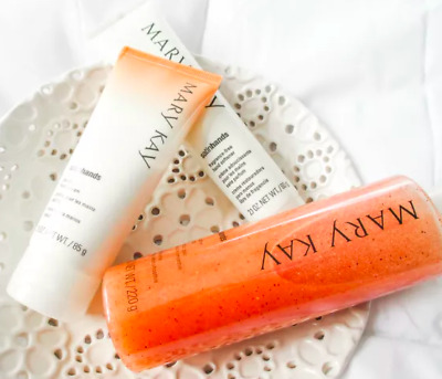 Mary Kay Satin Hands Pampering Set & Hand Cream Lot ~ Peach